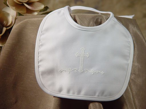 Little Things Mean a Lot Boys Matte Satin Bib with Screened Cross at Sears.com