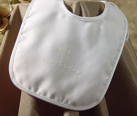 Little Things Mean a Lot Boys Large Matte Bib with Screened Cross at Sears.com