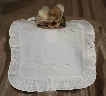 Little Things Mean a Lot White Silk Dupioni Bib with Ruffles at Sears.com