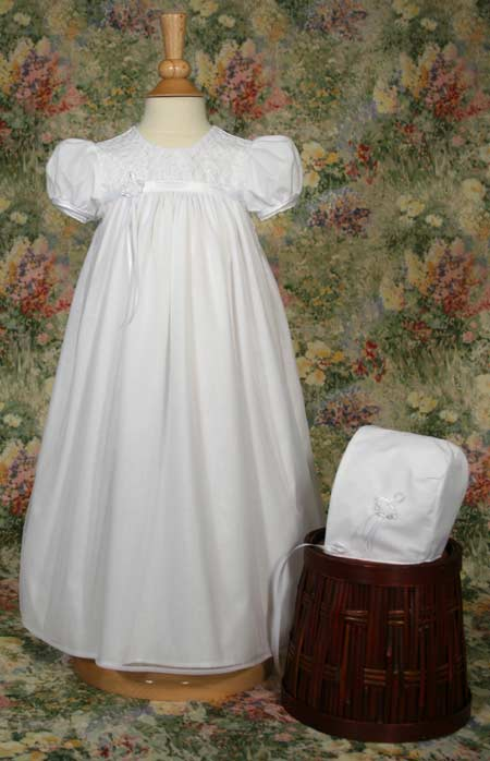 Little Things Mean a Lot 23 inch White Nylon Tricot Christening Baptism Gown with Embroidered Bodice at Sears.com